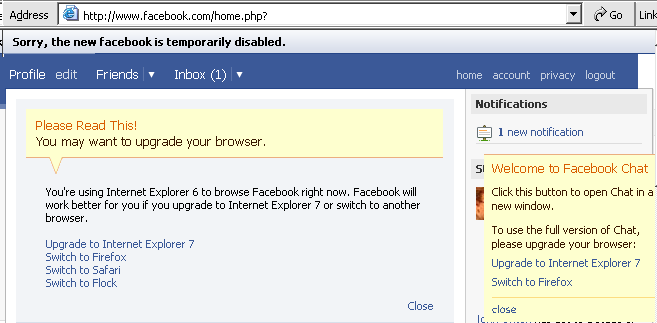 Facebook Error message in IE 6.