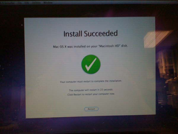 Mac OSX Install Succeeded