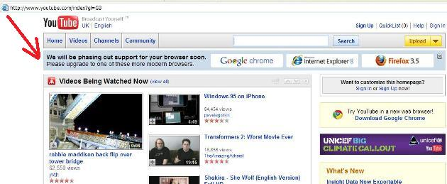 Youtube in IE 6