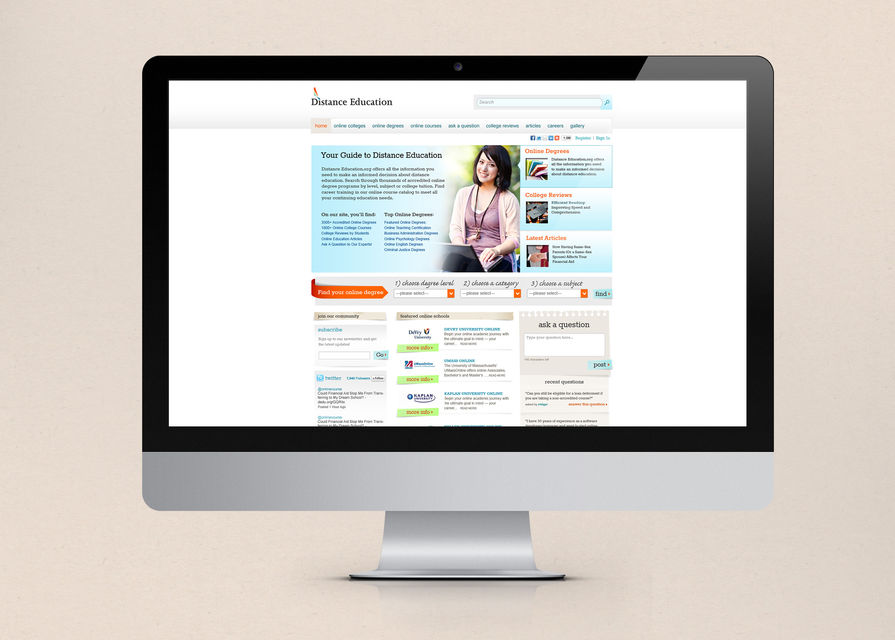 Distance Education Website Main Portfolio Image